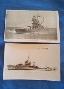 Vintage Military Postcard USS DEWEY BATTLESHIP IDAHO Posted 1942 Real Photo Lot