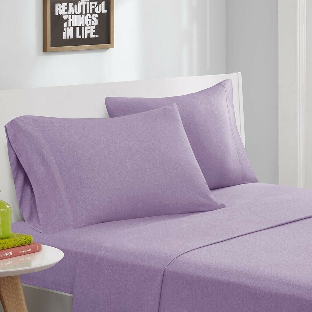 Modern Purple Cotton Blend Jersey Knit Sheet Set - ALL SIZES