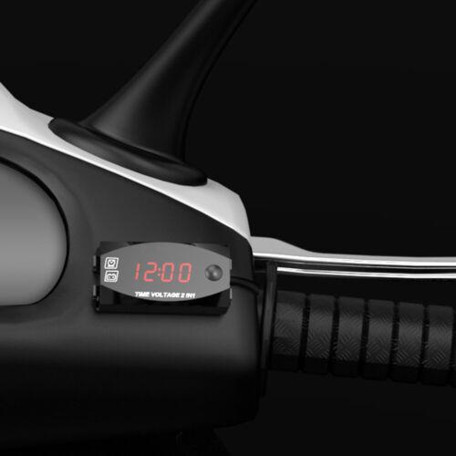 1* Motorcycle Voltage Meter+Time Voltmeter Red Digital Display Waterproof Parts