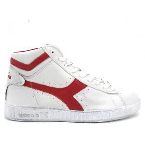 Scarpe sportive uomo Diadora Game L High Waxed 159657 C5147 bianco Rosse pelle