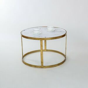 Details About Marble Effect Top Gold Leaf Metal Glass Round Coffee Side End Table