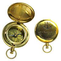 Messing Taschen Kompass Taschenuhr Format Neu