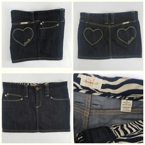 Frankie B Jean Mini SKIRT Sz 6 HEART Pockets BLACK new