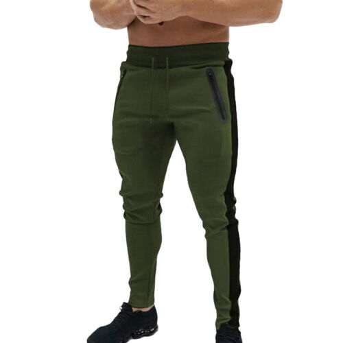 Mens Gym Slim Fit Trousers Tracksuit Bottoms Skinny Joggers Striped SweatPants