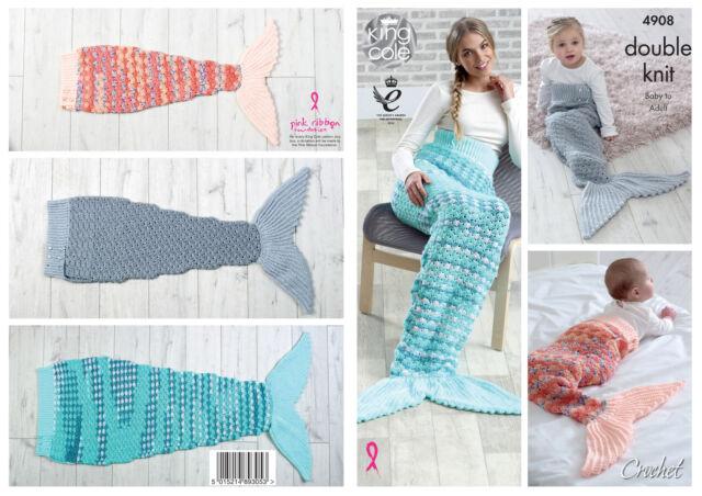 King Cole Double Knit Crochet Pattern Mermaid Tail 4908 Ebay