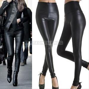 Womens-Faux-Leather-High-Waist-Leggings-Stretch-Skinny-Pants-Slim-Legging-BLACK
