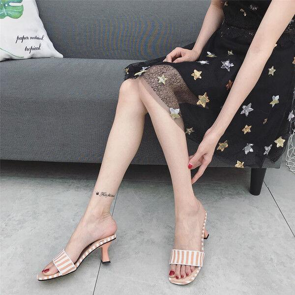 Sandalen Stilett Elegant Holzschuhe 7.5 cm Beige Hausschuhe Leder Synthetik 1059