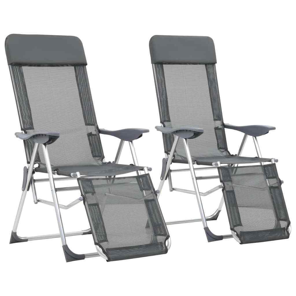 VidaXL 2x Sedie Pieghevoli da Campeggio Poggiapiedi Alluminio Grigio Seggiole
