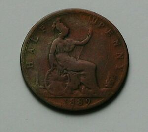1889-UK-British-Victoria-Coin-Half-Penny-1-2d-cleaned-discoloured