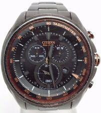 Men's Citizen AT2187-51E Eco-Drive Black Stainless Steel Chronograph Watch
