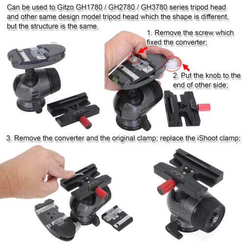 ARCA-SWISS Quick Release Plate Clamp Adapter to Manfrotto Gitzo Tripod Ball Head