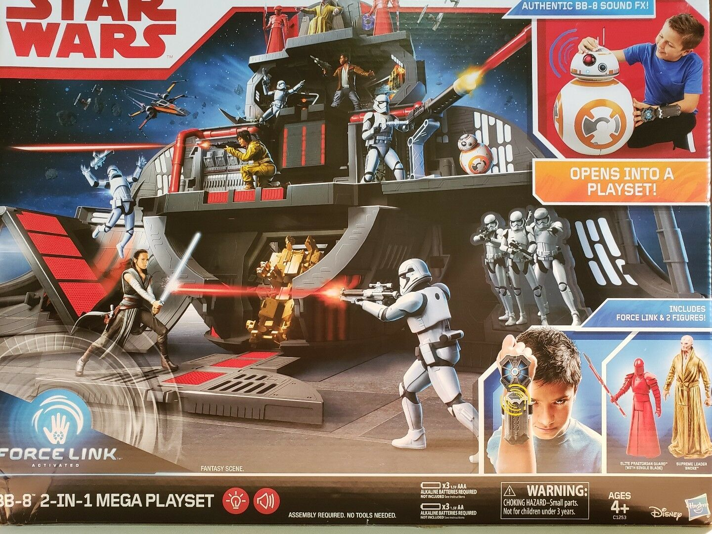 NEW Star Wars BB-8 2 in 1 Mega Playset Playset Playset w Force Link & 2 Figures Snoke ELITE 27fc7e