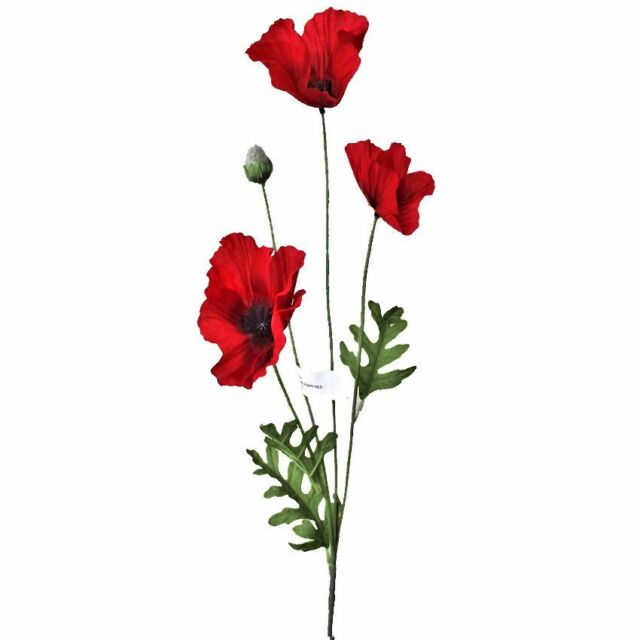 Artificial Flame Red Poppy Flower 63cm Decorative Plastic Poppies
