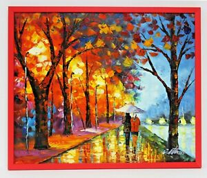 Autumn-Leaves-City-Trees-20-x-24-Art-Oil-Painting-on-Canvas-w-Red-Wood-Frame