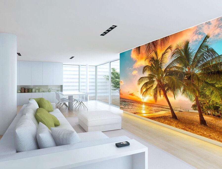 3D Beach Tree Sun 7069 Wallpaper Mural Wall Print Wall Wallpaper Murals US Lemon