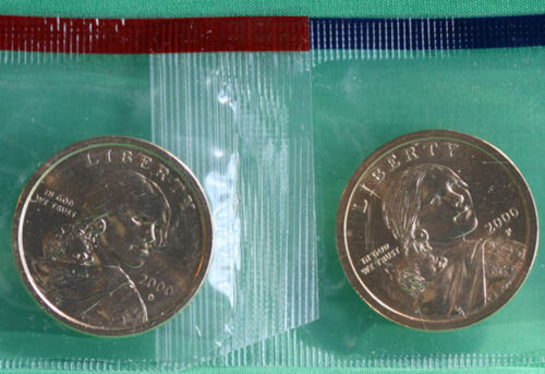 2000 P and D Sacagawea Dollar BU 2 Coins Cellos US Mint Set Native American UNC