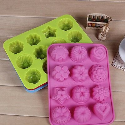 New Silicone 12 Cubes Flowers Ice Chocolate Jelly Muffin Cookie DIY Baking Mould