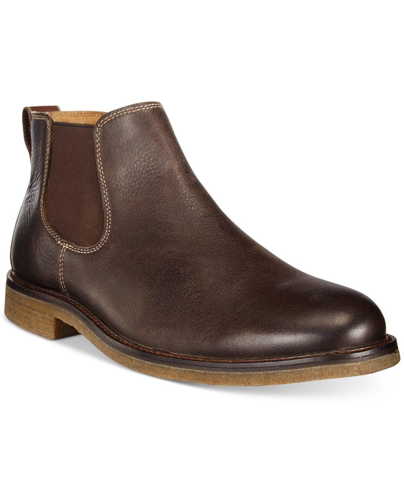 Johnston Murphy para hombre Copeland Chelsea botas De Cuero Marrón Oscuro 9.5 Nuevo