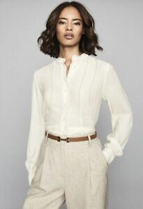 Reiss-Shelley-Crema-collo-serafino-manica-lunga-Camicia-Blusa-Top-taglia-6-16