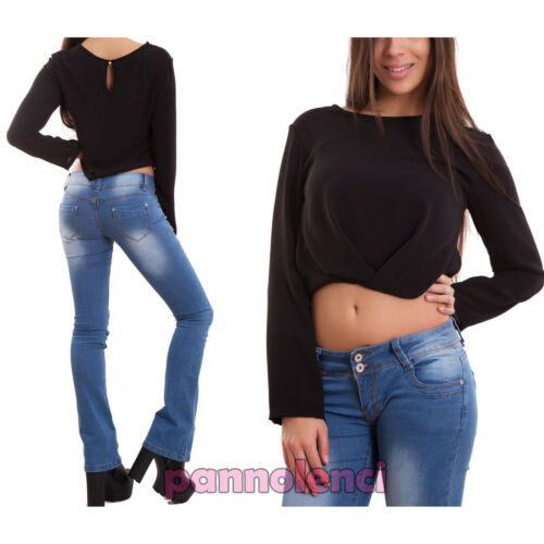 Maglia donna top corto maglietta maniche lunghe velata chiffon nuova CJ-2043