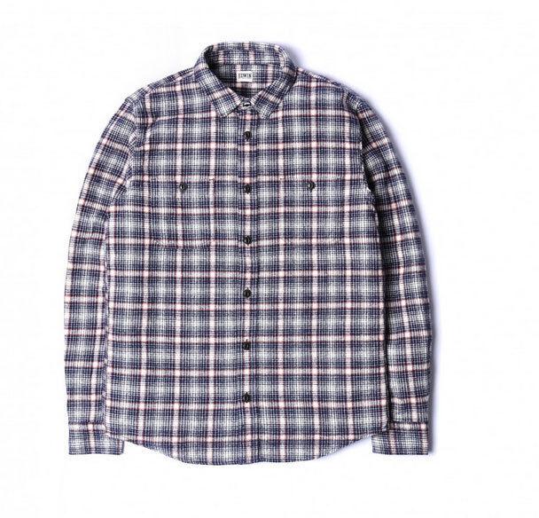 Edwin JAPAN Lavoro Camicia A Quadretti Blu Navy Bianco Sporco controllo spedizioni internazionali