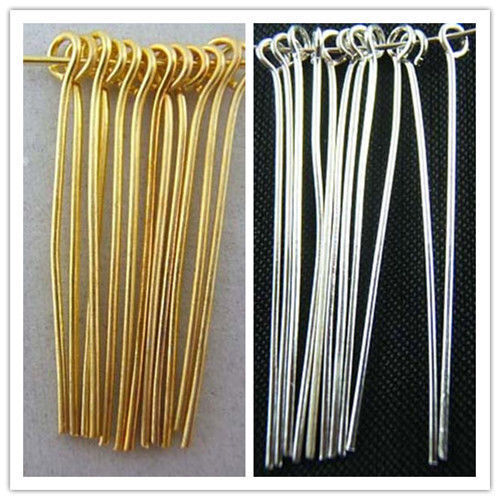 Wholesale Silver Plated Gold Plated Eye Pins Needles Jewelry Findings 6 Sizes