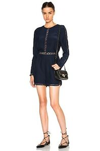2e96d7193880 JONATHAN SIMKHAI Crossbar Silk Navy Blue Long Sleeve Romper  595