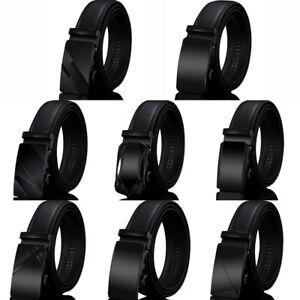 Luxury-Men-039-s-Genuine-Leather-Belt-Alloy-Automatic-Buckle-Waistband-Waist-Strap