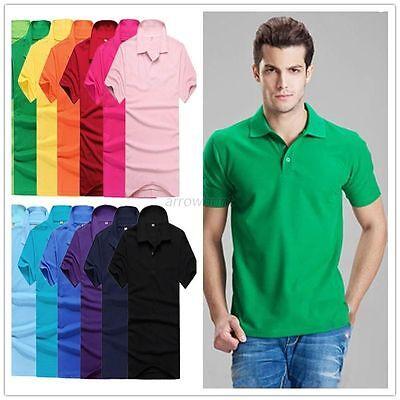 Men Short Sleeve Lapel POLO Shirt Solid Tee Blouse Tops T-shirt M-3XL 16Colors