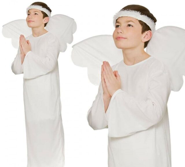 Child Girls Angel Nativity Christmas Play Outfit Fancy Dress Costume Wings Halo