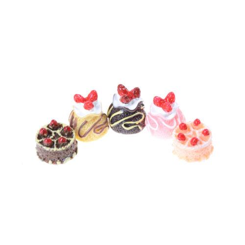 5pcs Dessert 3D Resin Cream Cakes Miniature food Dollhouse Accessories L El