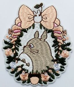 Totoro-Flower-Rabbit-Iron-On-Embroidered-Patch-Quality-4-034-Japan-Anime