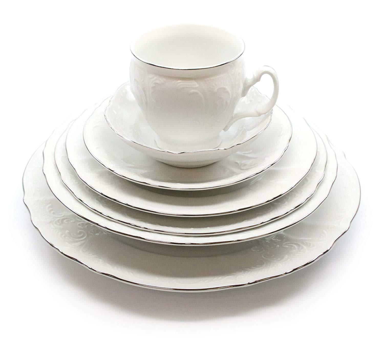 Royalty porcelaine vintage antique 28pc Dinnerware Set Bernadotte Blanc Platinum