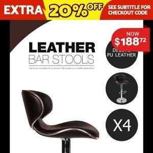 Brown 4x Bar Stool Kitchen Premium PU Leather Gas Lift Chair 1060