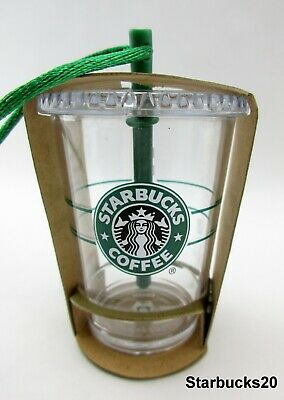 2016 Christmas Holiday Starbucks Clear Glass To Go Cup Tumbler Ornament
