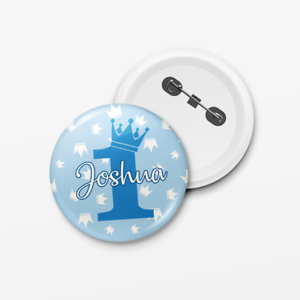 Personalised-Kids-Prince-Birthday-Boy-Pin-Badge-Add-Any-Name-amp-Age