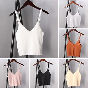 Women-Spaghetti-Strap-V-Neck-Vest-Cami-Tank-Bardot-Crop-Top-Blouse-Clothing-New
