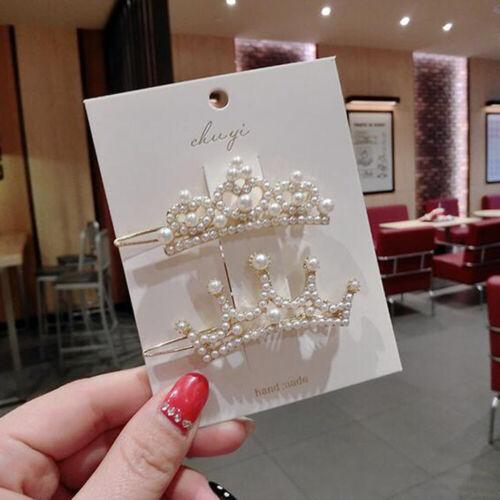 Fashion Girl White Pearl Crown Hair Clip Stick Barrette Hairpin Hair Accessories