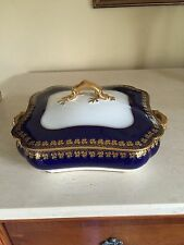 FABULOUS ANTIQUE HAVILAND LIMOGES COBALT GOLD GILT COVERED VEGETABLE BOWL DISH