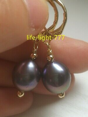 New AAA 13-14mm natural South Sea White Baroque Pearl Earrings 14K YELLOW GOLD