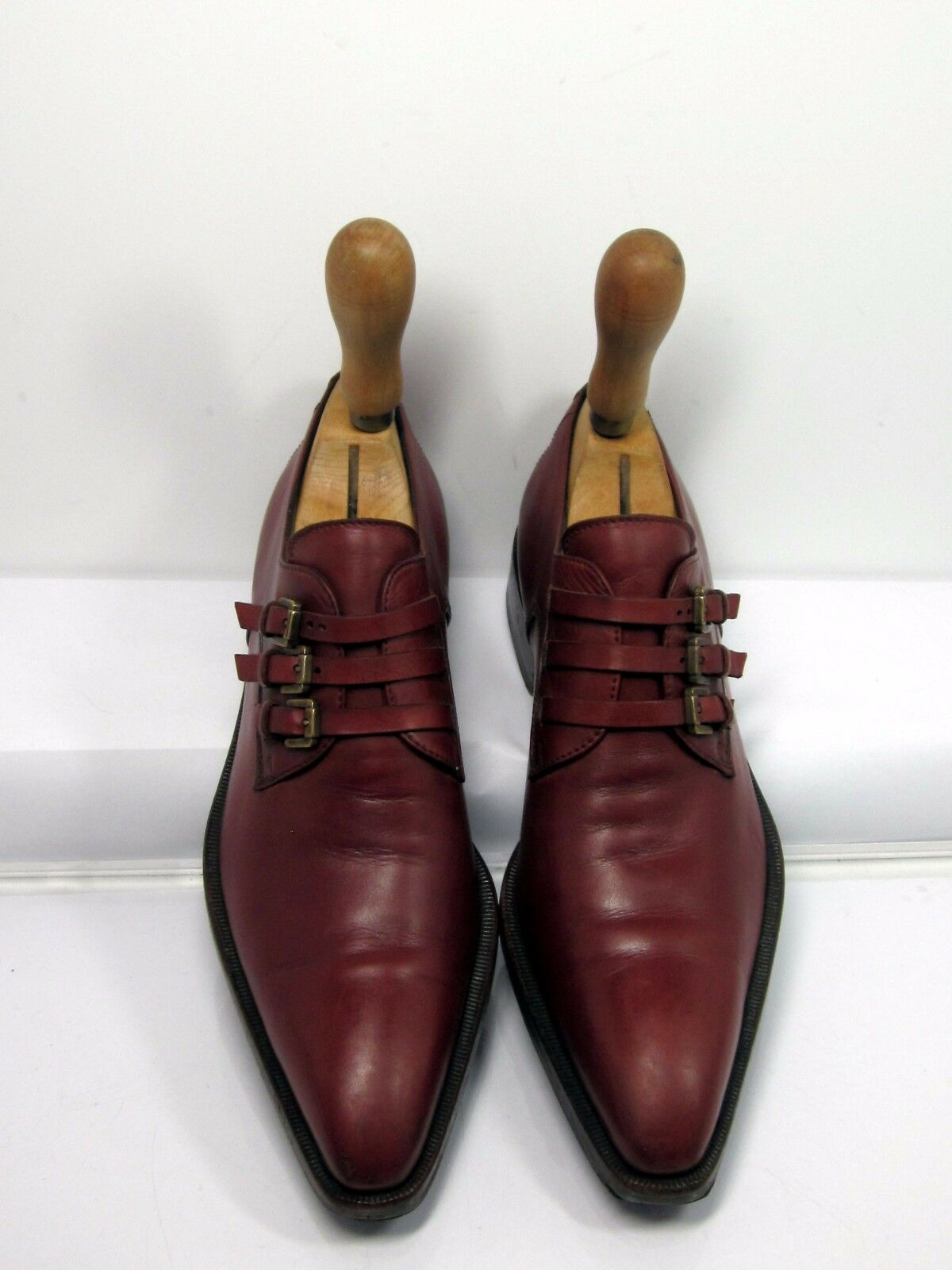 SERGIO ROSSI triple Monk Strap burgundy pelle SZ 36 Made in Italy HARD TO FIND