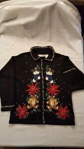 Ugly-Christmas-Sweater-Vintage-Victoria-Jones-Size-SMALL-TEDDY-BEARS-STOCKINGS