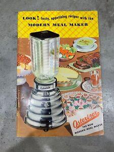 Vintage 1953 Osterizer Liquefier Blender Operation Manual Cookbook Recipes