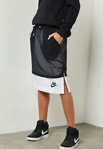 e7000c2b2b79 Nike Sportswear Women s Mesh Long Skirt Black White 848527 010 NWT ...