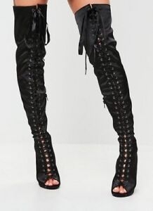 67af21d053b Truffle Collection Satin Lace Up Over The Knee Boots - Black - UK ...