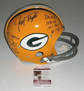 PACKERS-Jim-Taylor-signed-RK-F-S-STAT-helmet-w-6-Insc-JSA-COA-AUTO-Autographed