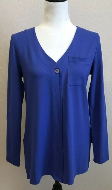Soft Surroundings Purple Top Women's Small Tunic Long Sleeve Stretch New