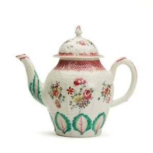 LIVERPOOL-ATTRIBUTED-FLORAL-PAINTED-TEAPOT-c-1770