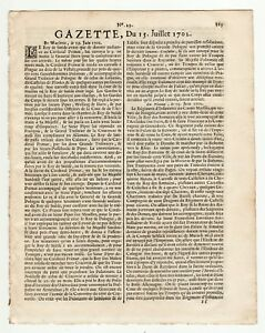 1702-july-15-Rare-French-Gazette-at-the-beginning-of-the-Queen-Anne-039-s-War