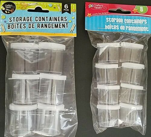 """1"""" 8//Pk or 1.25/"""" 6//Pk Select Reusable Clear Mini-Containers w Snap-On Lids"""